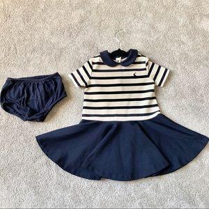 Ralph Lauren Collared Navy Dress with Diaper Cover
